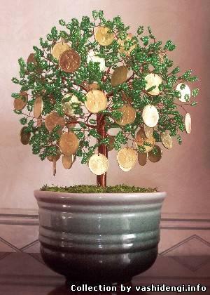 Денежное дерево из бисера с монетами своими руками